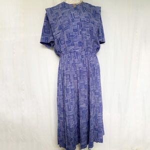 Leslie Fay // Purple, White Vintage Shirt Dress 14